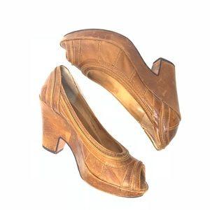 Frye Distressed Open toe Shoe Size 7